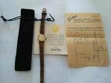 Rare, Montre vintage OMEGA en or 18 K Bracelet Croco + Certificate + facture