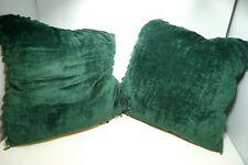 "Lot 2 Emerald Green Soft 17"" Throw Pillows Sofa Decor BEADED Fringe"