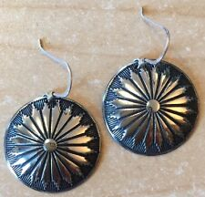 GORGEOUS NICKEL SILVER CONCHO EARRINGS! With Sterling Silver Ear wire! Handmade