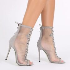 Women Ankle Boots Open Toe High Heel Sandals Booties Lace Up Mesh Spring Shoes