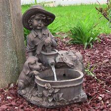 Water Fountain Dog & Boy Solar Power w/ LED Light Outdoor Garden Home Decor Pump