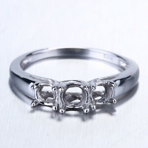 Ladies Fashion Finger Ring Sterling Silver 3 Stone Semi Mount Round 4.5mm& 3.7mm