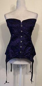 Adore Me purple w/black lace overlay back lace up corset plus size 4X