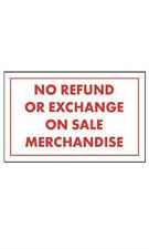 No Refund Or Exchange On Sale Merchandise Policy Sign Card 11W x 7H - Lot of 10
