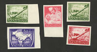 AZAD HIND - INDIA-GERMANY-5 MNH/MLH IMPERFORATED STAMPS