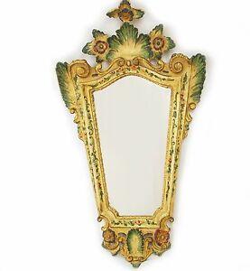 "32"" Antique Italian Italy Venetian Mirror w/ Yellow Green & Red Floral Design"