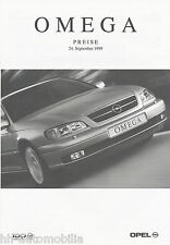 OPEL Omega listino prezzi 24.9.99 1999 PRICE LIST LISTINO PREZZI AUTO auto automobili prezzi