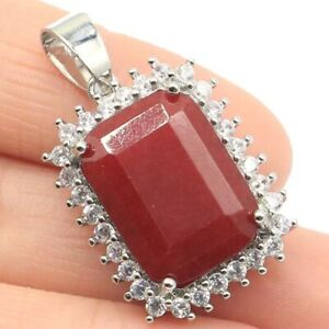 33x14mm Pretty 18x13mm Real Red Ruby Natural CZ Engagement Gift Silver Pendant