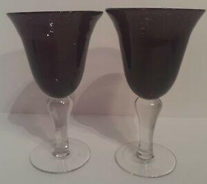 Deep Purple Handblown Goblets - Set of 2