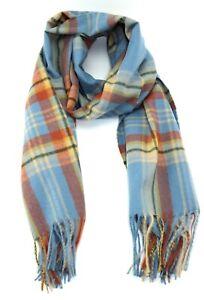 New large BLUE scarf tartan design winter men women colourful with fringe