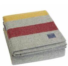 Faribault Woolen Mill Co. Revival Stripe Wool Blanket - Gray Multi (Queen Size)