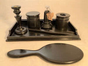 Antique Ebony Dressing Table Pieces With Tray