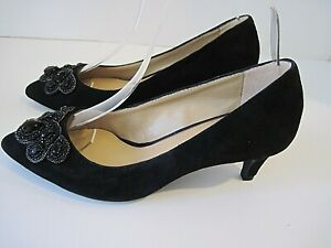 Antonio Melani Black Suede With Front Bling Toe Size 6 1/2 M, Excellent!