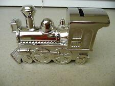 Silver Tone Polished Train Engine Locomotive Piggy Bank Coin Saving Great Gift