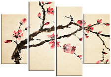 LARGE CHINESE ORIENTAL FLOWER BLOSSOM FLORAL PAINTING CANVAS PICTURE SPLIT 100cm