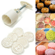 6Pcs Round Flower  Mooncake Pastry Moon Cake Mold Round Baking Mould Tools