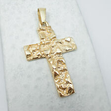 NEW Solid 14K Yellow Gold Mens Nugget Cross Crucifix Pendant Charm, 6.4 grams