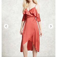 Satin wrap dress, spaghetti strap, off shoulders, medium.