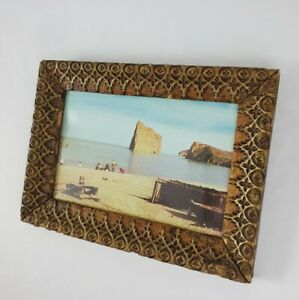 """Vintage Picture Frame Carved Walnut Baroque With Seaside Photo 11.5"""" x 8.5"""""""