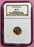 1995 1/10 oz Gold American Eagle NGC MS 70 $5