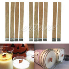 10Pcs 13mm x 130mm Candle Wood Wick with Sustainer Tab Candle Making Supply