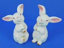 """New ListingLefton ~ Laughing White & Pink Rabbits ~ 3.5"""" Figurines Spring Easter Bunnies"""