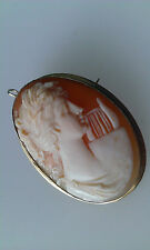 Quality Antique, Tested 14ct gold Lady Fine cut Cameo Pendant / Brooch