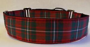 "MacGregor Red Tartan Martingale Dog Collar 1.5"" Greyhound Lurcher Podenco Saluki"
