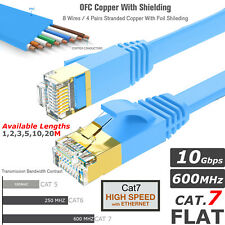 RJ45 Cat7 Ethernet Flat Cable High Speed Shielded Network Lead 1m - 20m LOT