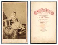 C. Herbert, Un enfant pose  CDV vintage albumen,  Tirage albuminé  6,5x10,5