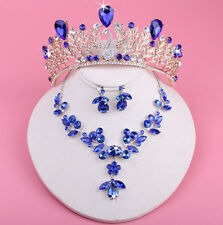 New Blue Swan Bridal Crown Necklace Earrings Sets Jewelry Wedding Headband Tiara