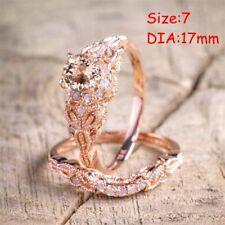 2Pcs Ring/Set 18K Rose Gold Filled White Topaz Wedding Engagement Size 6-10 Hot