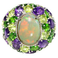 REAL RAINBOW OPAL PERIDOT AMETHYST CHROME DIOPSIDE STERLING 925 SILVER RING 8