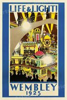 "1925 Wembley ""Life & Light!"" Vintage Style British Travel Poster - 24x36"