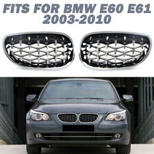Front Chrome Diamond Kidney Grilles Grill For BMW E60 E61 M5 5 Series 03-09