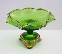 Antique EAPG Colorado Lacy Medallion Green Glass Pedestal Footed Bowl / Compote
