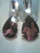 Fashion teardrop earrings with purple crystal