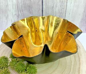 Deko Schale Schwarz Gold Metall Welle Blattgold Ø15cm Teelichtschale,Windlicht