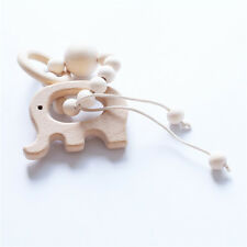 Baby Wooden Rattles Toys Nursing Bracelets Teether Crochet Chew Beads Toy Gift