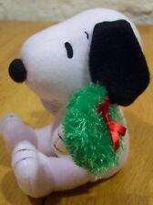 "Peanuts SNOOPY CHRISTMAS W/ WREATH 5"" Plush Stuffed Animal NEW Hallmark"