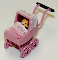 Dollhouse Miniatures Decorated Doll Carriage with a Doll in Pink