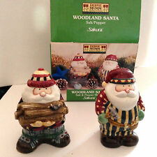 DEBBIE MUMM WOODLAND SANTA SALT & PEPPER SHAKERS NEW SAKURA MIB