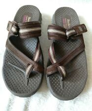 WOMEN'S SKECHERS BROWN SPORTY SANDALS SIZE 7 ADJUSTABLE STRAP CLOSURE/ CUSHIONED