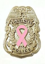 Pink Ribbon Police Badge Breast Cancer Awareness Collar Cap Silver Plated New
