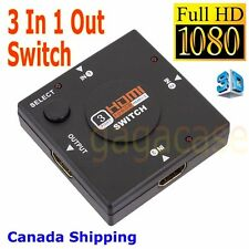 3x1 3-Port HDMI Switch Switcher Selector Splitter, 3 In 1 Out, Full HD 1080P 3D