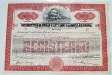 International Great Northern Railroad Bond Stock Certificate