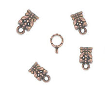 20 Antique Copper Plated Charm Holders European Style Bail
