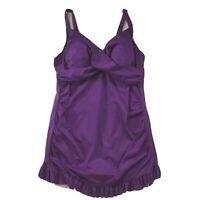 Roamans Womens Swimsuit size 20W new Purple Modest One Piece Swim Dress Tank Top