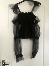 BNWT Ladies L'Olive Verte Black Organza Tie Shoulder Ruched Detail Top (Size M)