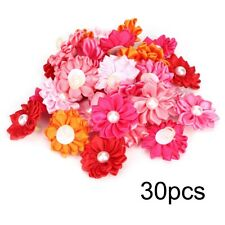 30PCS Colorful Pet Dog Hair Bows with Pearl Decor for Puppy Small Cat Grooming
